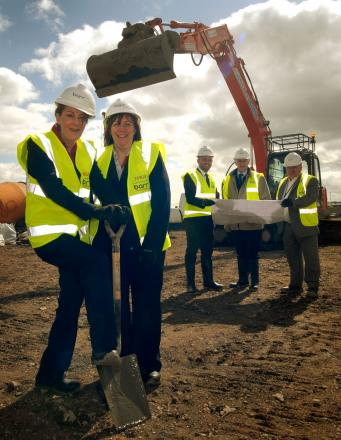 UNDER CONSTRUCTION: From left, Kathryn Medlicott, Debbie Howard and Steve Winfield of Tesco, Mitton ward councillor Chris Rogers and project manager Andy Pennell. Picture: Phil Loach. 151430L