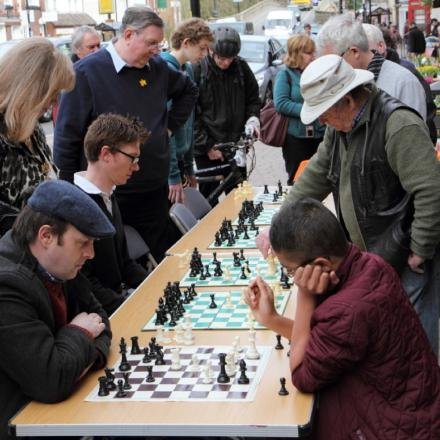 UTDOOR CHESS: Members of St Anne's Chess Club played residents to promote the game
