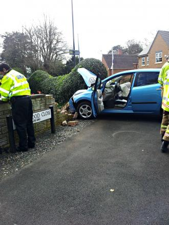 Crash: The accident in Kidderminster. Photo: David Hollyoak.
