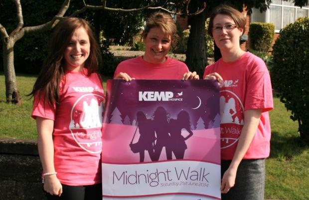 GIRL POWER: From left, Sophie Bishop, Norma Bingham and Caroline Beech launch this year's Midnight Walk.