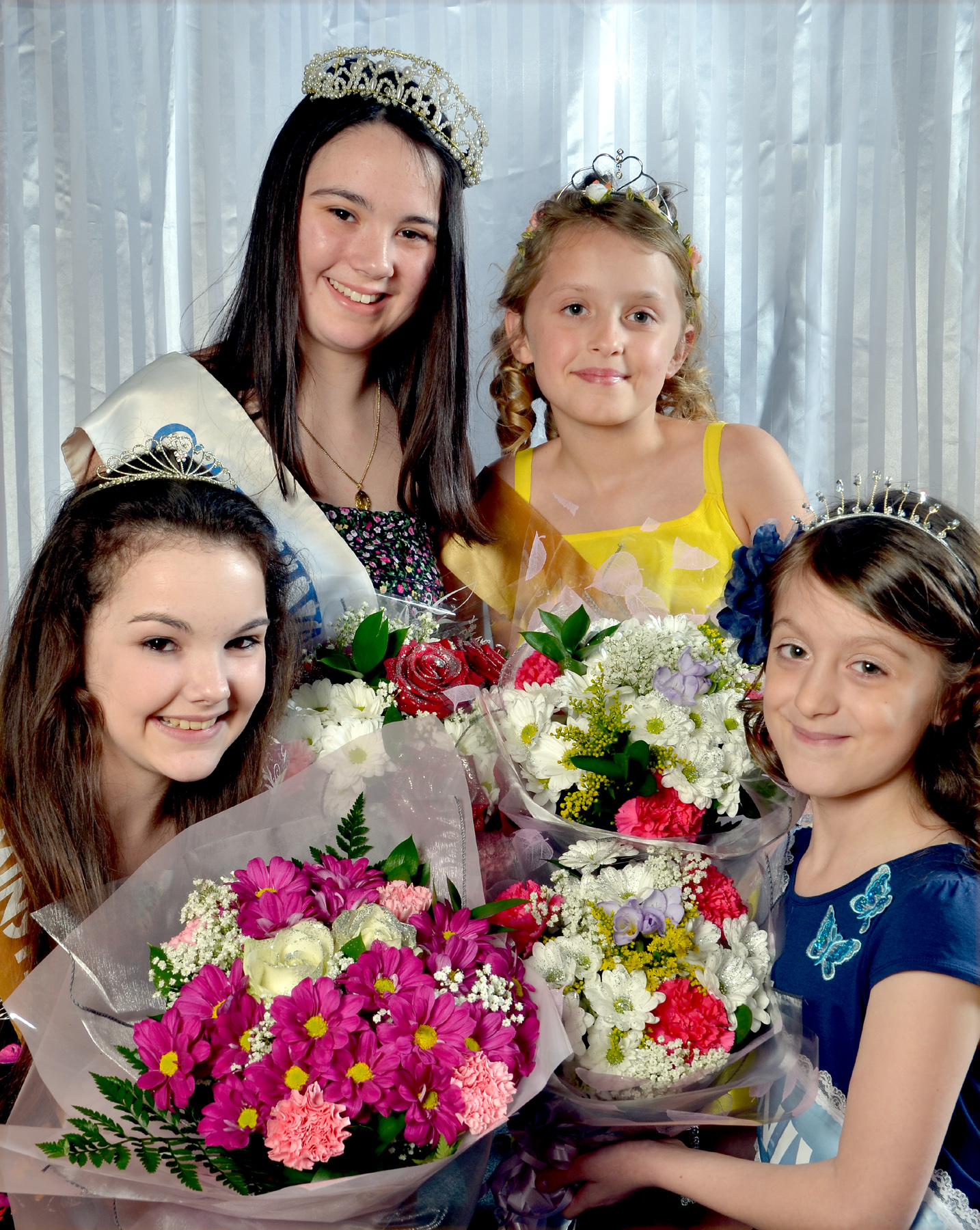 ROYAL APPOINTMENT: From left, top, carnival queen Jessica Campbell and rosebud Millie Hodgkins, with, bottom, princess Paige Rundle and rosebud Alice Hickey.