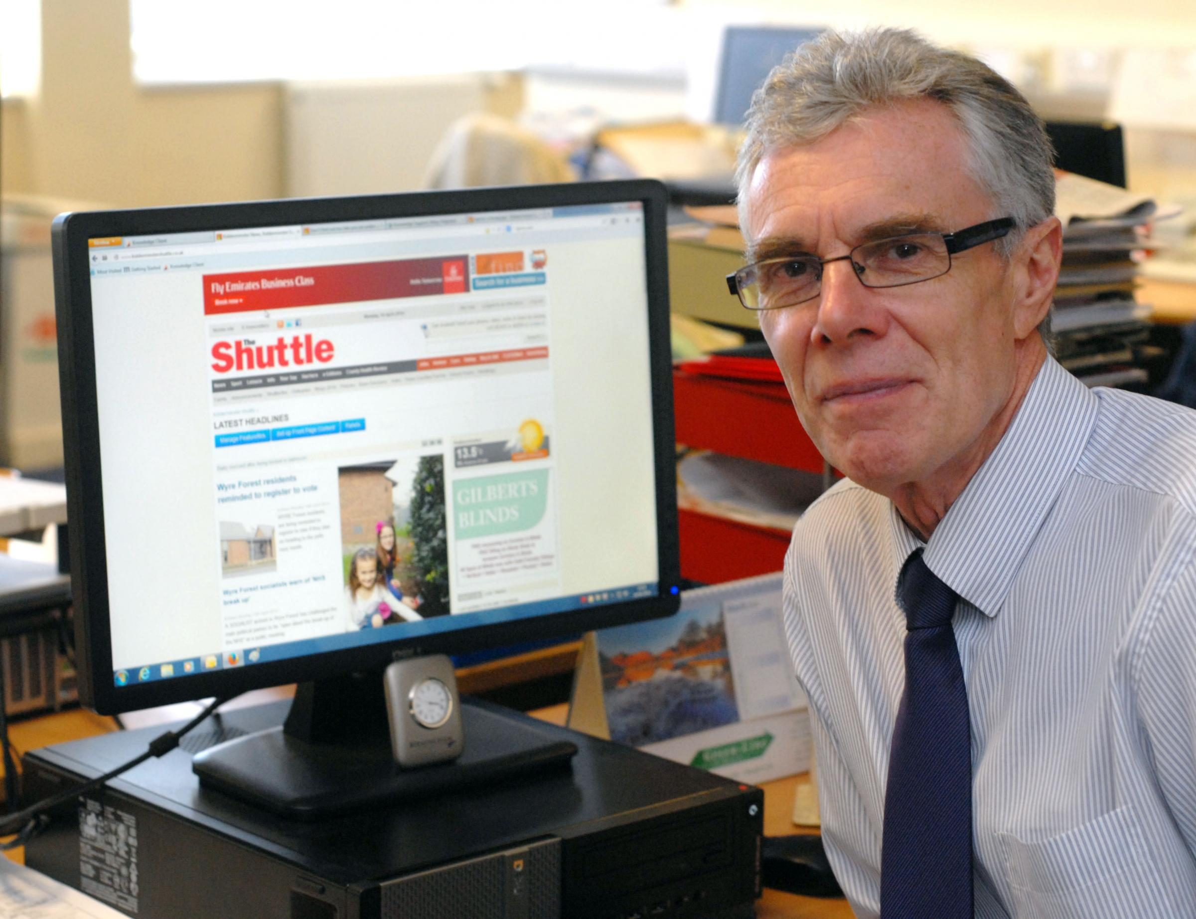 Retiring: Clive Joyce, who is leaving The Shuttle after 21 years, says an editor's role is a privileged one in the community.