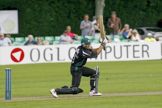SUPPORTING THE TEAM: Worcestershire's Vikram Solanki in action at New Road with OGL advertising in the background.