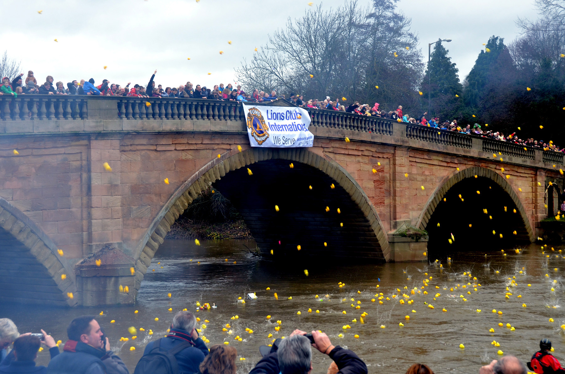 DUCKS AWAY: Competitors throw their racers in the River Severn at the start of last year's race. Pic