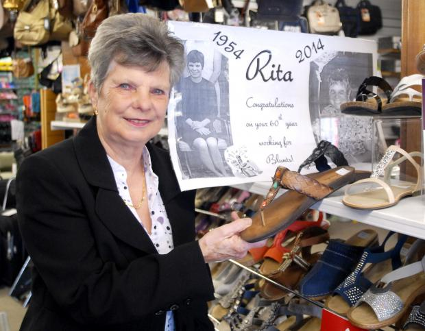 IF THE SHOE FITS: Rita Browning has spent 60 years working at Blunts shoes.