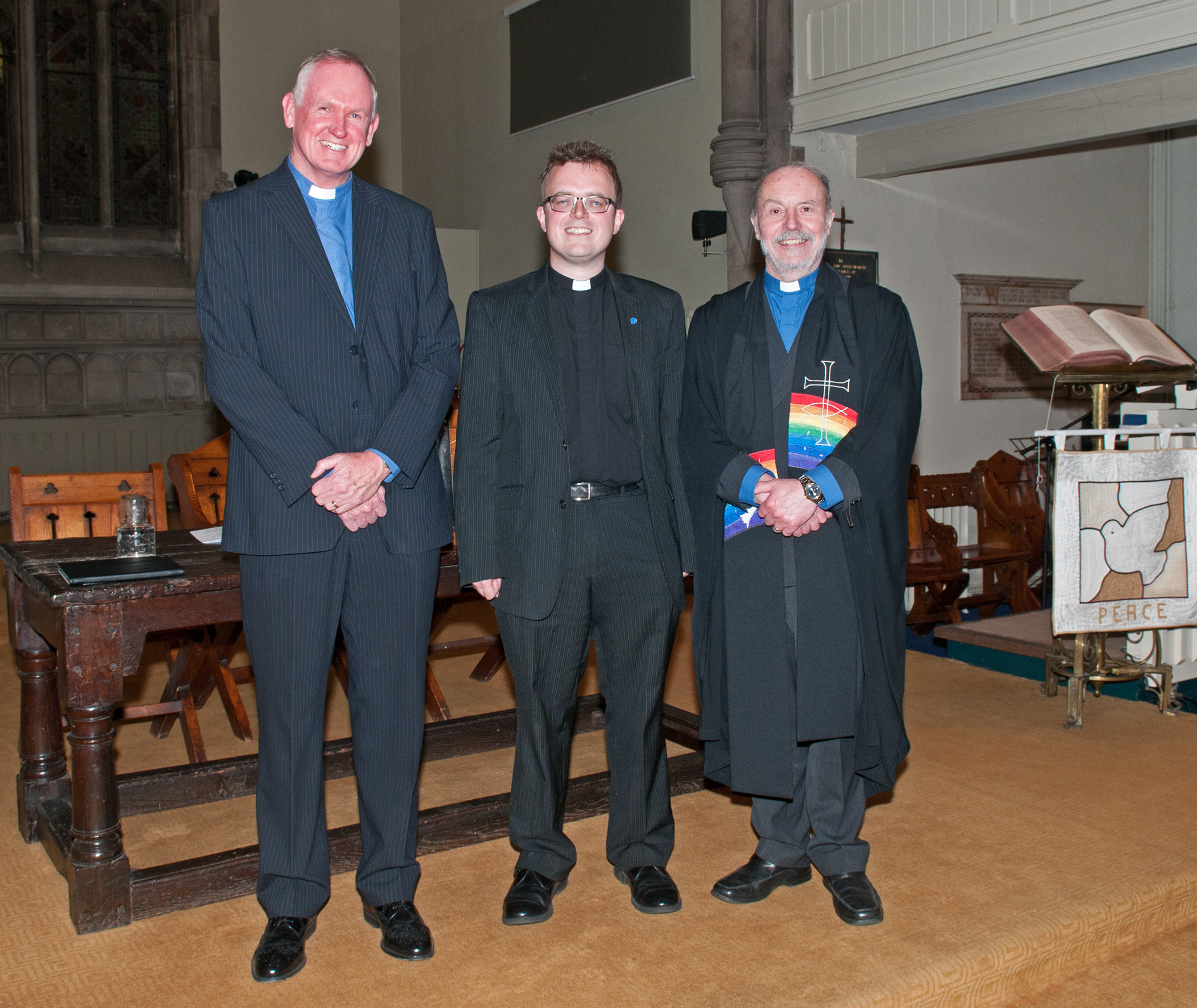 NEW START: The new minister Rev Andrew Mann-Ray, centre, with past minister Rev Gerald England, left and Rev Roy Lowes.