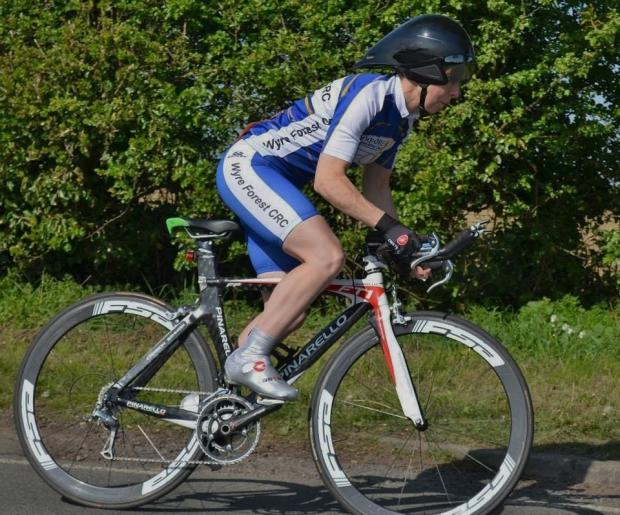 Pedal to the metal: Andy Convery won the first mid week time trial of the season for Wyre Forest CC.