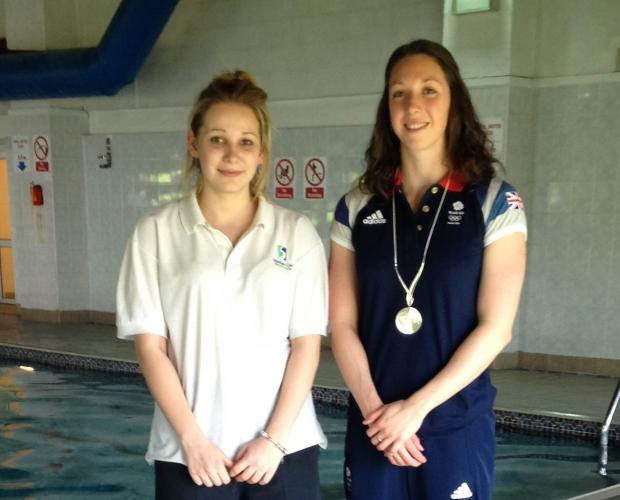 Kidderminster Shuttle: MAKING A SPLASH: Charlotte Jackson, of the Feel Good Health Club, with Olympic swimmer Amy Smith.