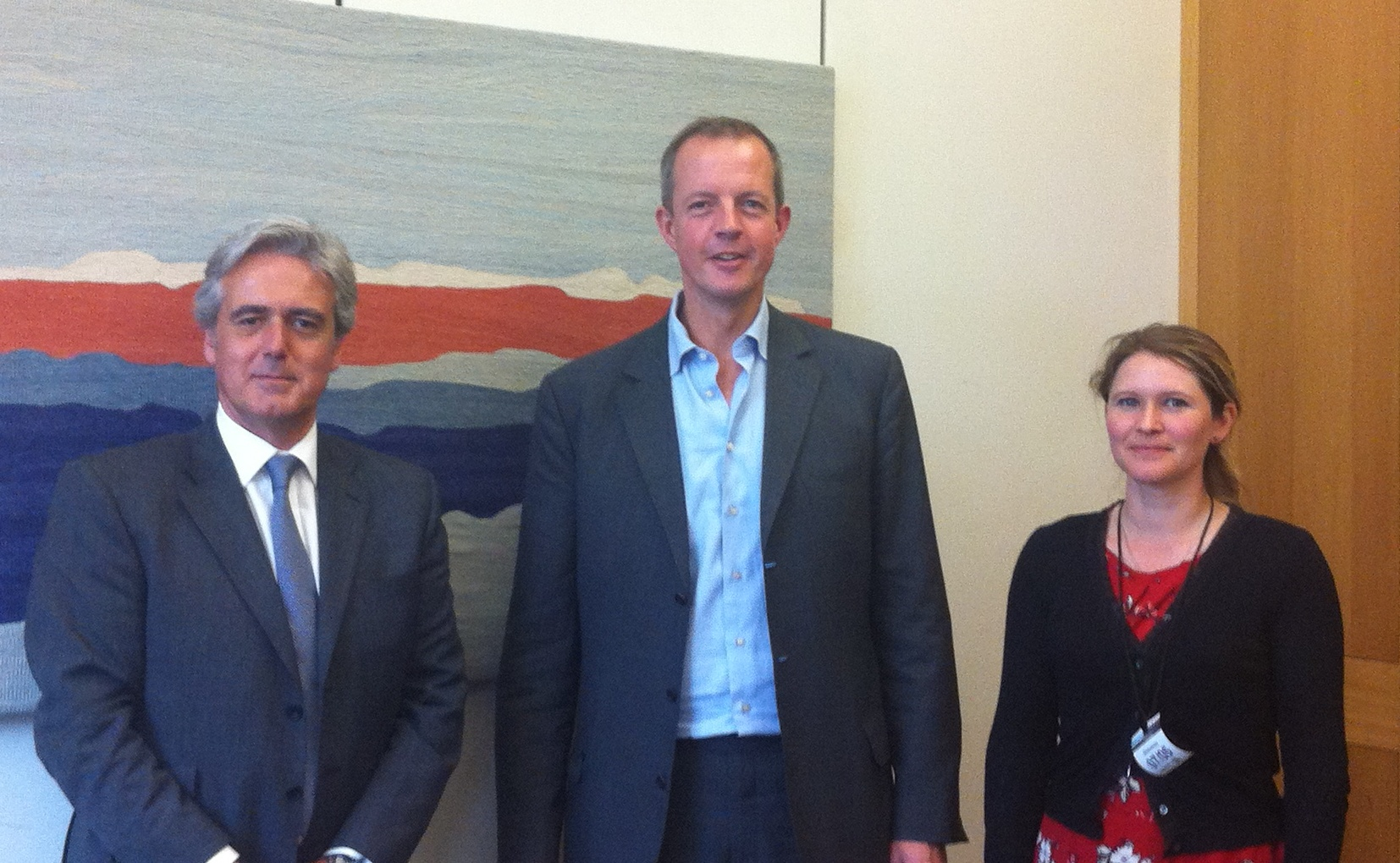 PLANNING DISCUSSION: From left, Mark Garnier MP, Nick Boles MP and Rebecca Mayamn.
