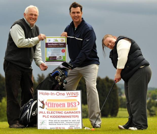 IN THE SWING: From left, Michael Dimbylow, Burlish Park Golf Club manager Mark Plummer and Catherine Giblin.