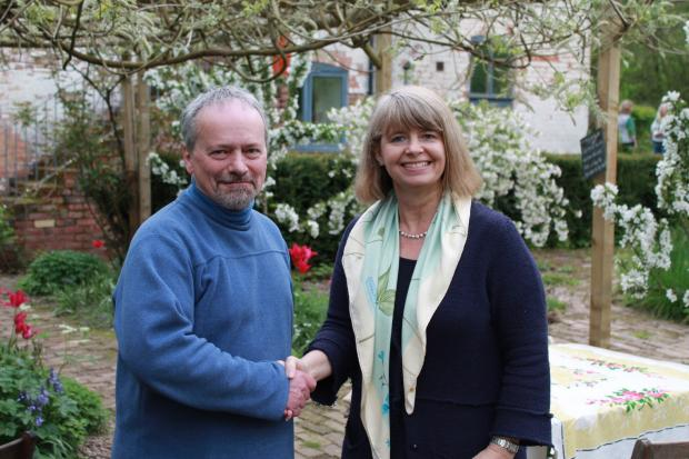 VICTORY: Conservative Chris Dell with Harriett Baldwin MP, whose West Worcestershire constituency includes Lindridge Ward.