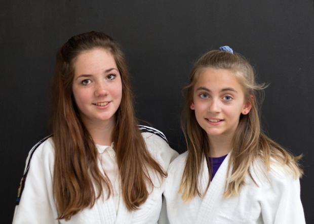 Golden girls: Bryony Griffiths (left) and Leah Grosvenor (right) were victorious at the London Open Judo Championships.