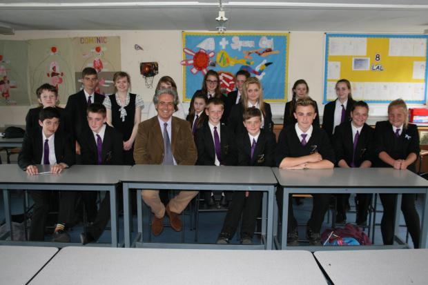 BACK TO SCHOOL: Wyre Forest MP Mark Garnier with pupils at Baxter College.