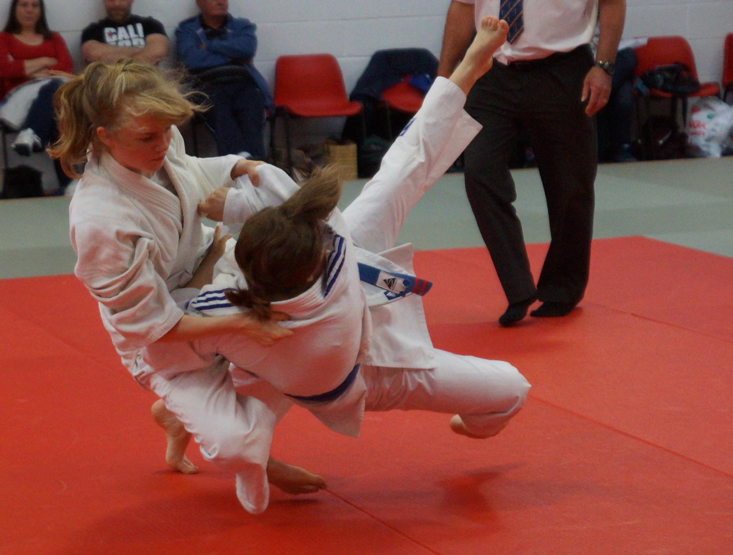 Body slam: Hetty Tinsdale in action for Samurai at the Worcestershire under-16s Open Champ