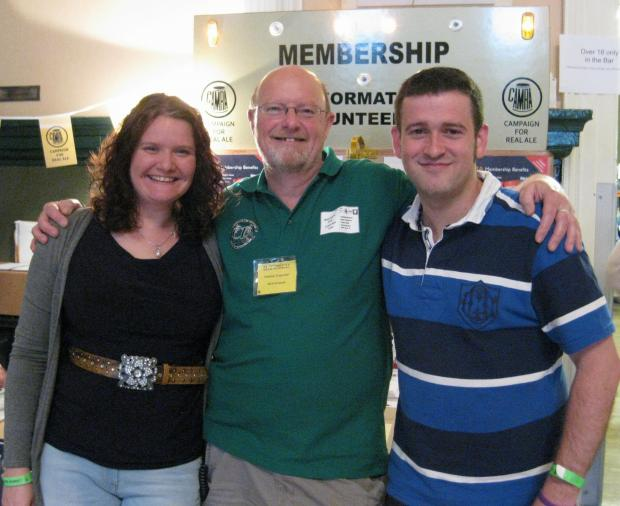 NEW MEMBERS: Wyre Forest CAMRA chairman Nick Yarwood, centre, with members 300 and 301 Nicole Andrews and John H