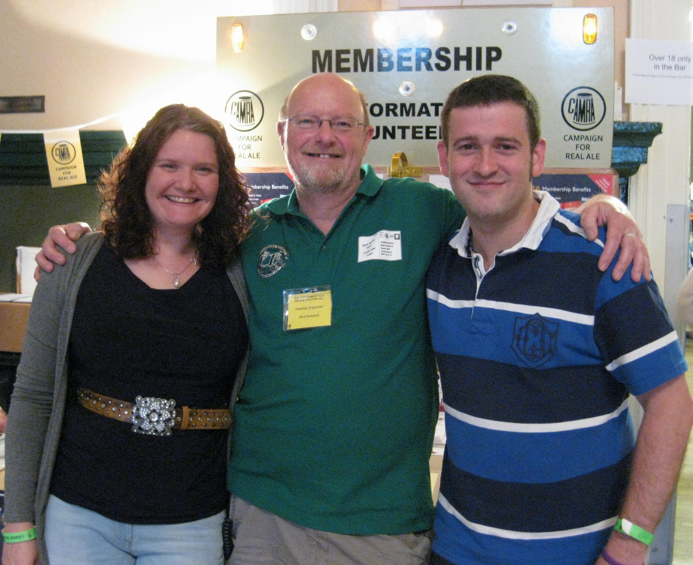 NEW MEMBERS: Wyre Forest CAMRA chairman Nick Yarwood, centre, with members 300 and 301 Nicole Andrews and John Hudson.