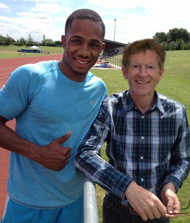 Meeting of minds: Kidderminster and Stourport AC's Andrew Priest (right) poses with Britain's latest 100m sprint hope Chijindu Ujah.