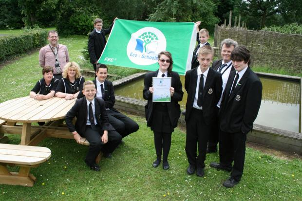 GREEN FLAG: The eco team at Wolverley CE Secondary School celebrates its success.