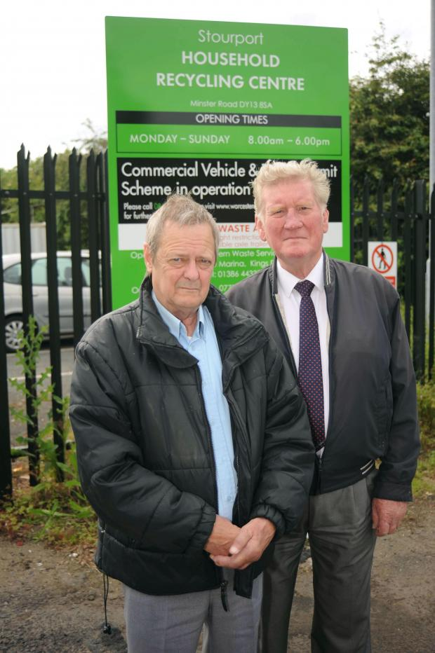 Kidderminster Shuttle: CONCERNS: Stourport town councillors Ken Henderson, left and David Little are worried about the knock on affects of increased usage at Stourport's recycling centre. Picture: Emma Trimble. 251430ET.