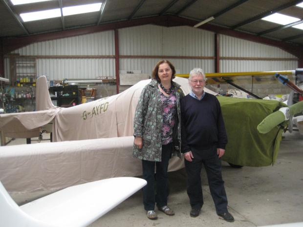 CRAFT CREATION: Severn Hospice Crafters have stitched dust covers for a two-seater aeroplane.