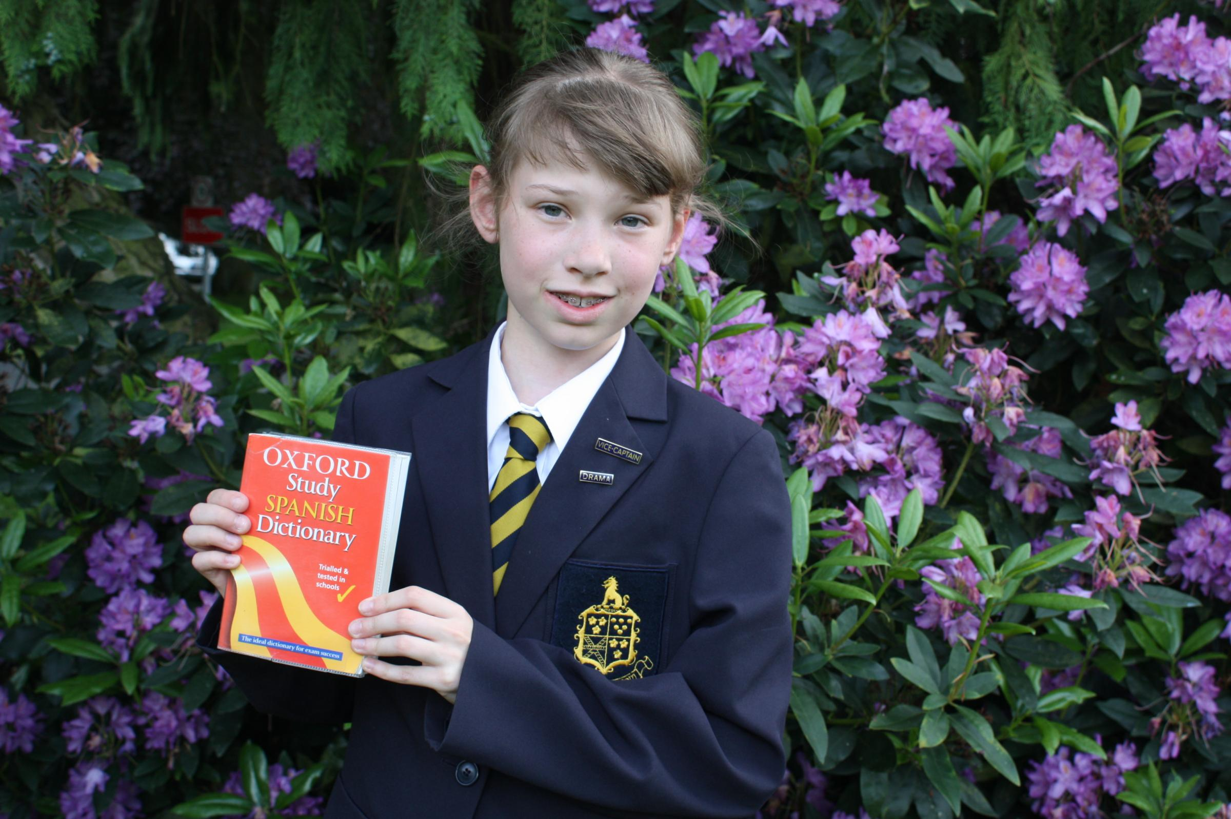 TALENTED LINGUIST: Charlotte Bardsley, 12, has reached the national final of a spelling bee.