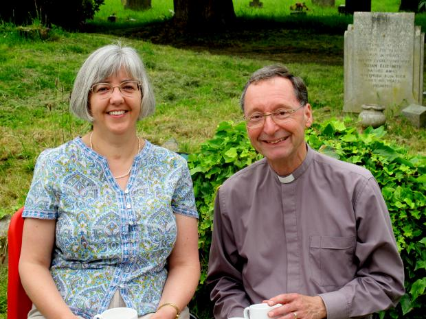 RETIREMENT: Rev Stephen Owens, right, and his wife Lynne after his final service as vicar of the Wyre Forest West benefice.