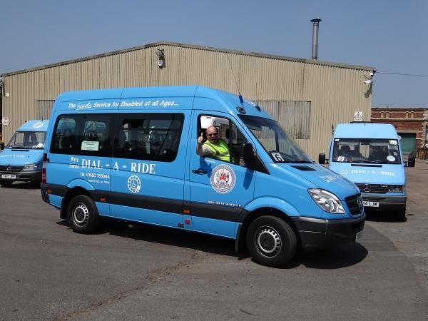 THUMBS UP: Volunteer Dial-A-Ride Driver Ray Barber of Kidderminster prepares to leave Green Street Depot.