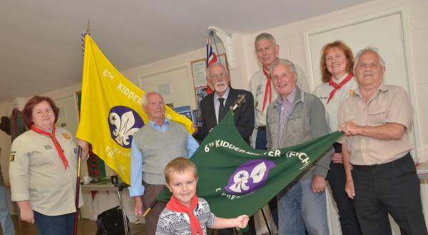 ANNIVERSARY REUNION: From left, Sally Mackillop, Charles Toby, 85, Jim Sayner, 78, Andy Mackillop, assistant cub leader, Ron Jennings, 87, Ann Bennett, beaver leader, and Derek Jennings, 83, with Billy Brookes, 5,. Picture: Colin Hill