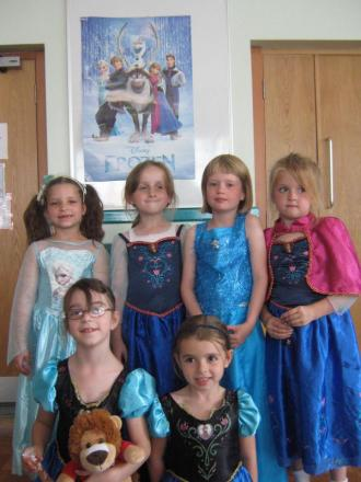 FROZEN FUN: Foley Park pupils Summer Sharpley, Skye Meaker, Kelsey Wyatt, Jessika Shelley, Rebecca Philpotts and Maddison O'Brien dressed up for the themed film night.