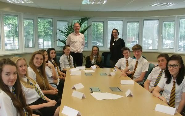 AWARD GIVER: Marcus Hayes with Stourport High School students during a workshop.