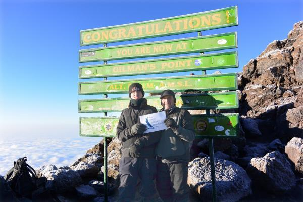 TOP OF THE WORLD: Alex and Chris Jordan at Gilman's Point, 5,800 metres up Mount Kilimanjaro.
