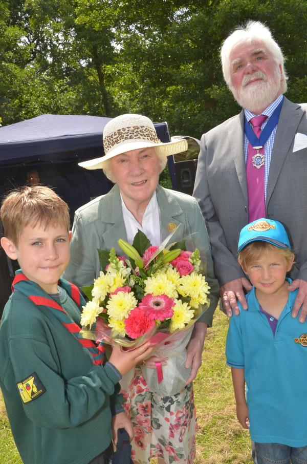 DIGNITARIES: Scout group members Jack Hill, left, and Harry Worthington, right, with Irene McFarland and Deputy Mayor Barry McFarland. Picture: Colin Hill