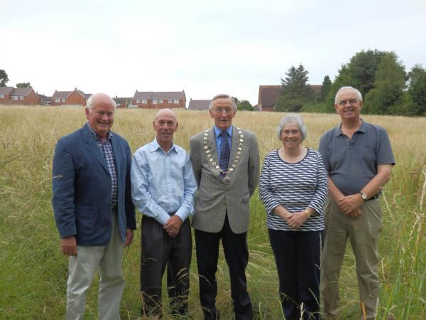 GREEN-FINGERED: Councillors Charles Sherrey, John Hart and Peter Smith with Jennifer Bull and Roy Irish of Wolverley Allotment Society.