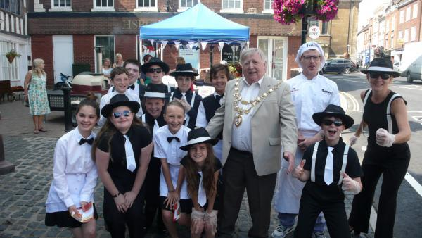 PIZZA PERFECTION: Young entrepreneurs with Mayor of Bewdley, Derek Killingworth.