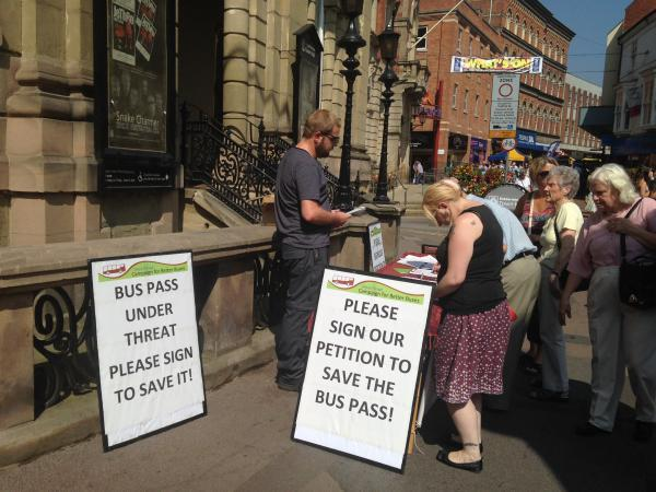 SIGN UP: Wyre Forest Campaign for Better Buses collects signatures in support of the universal bus pass.