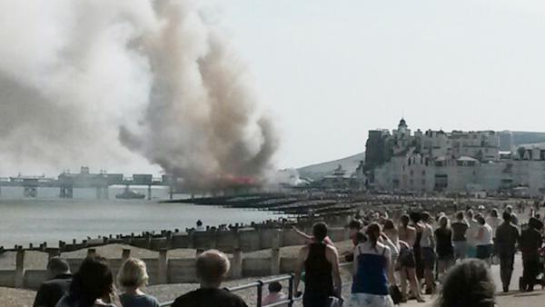 DRAMA: Eastbourne Pier on fire