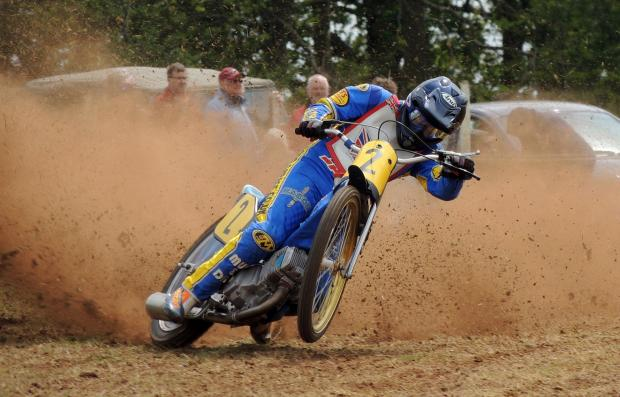 l Muddy fun: Adrian Guest will be in action at the Bewdley Grasstrack Bonanza next weekend.
