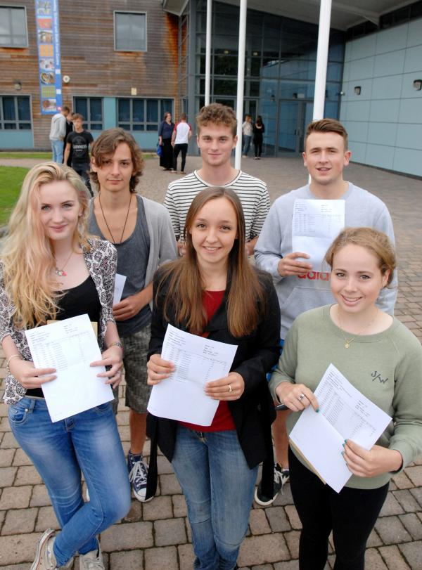 EXAM CELEBRATIONS: Bewdley School and Sixth Form Centre pupils, back from left, Jack Davies, Alfie Sylvester, Ben Court, front from left, Daisy Marchant, Lily Booton and Rebecca McKenzie. 341404M