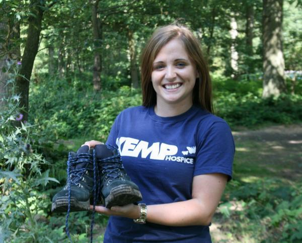 RIVERSIDE FUNDRAISER: Sophie Bishop, of the Kemp Hospice fundraising team, prepares for the River Severn Walk.