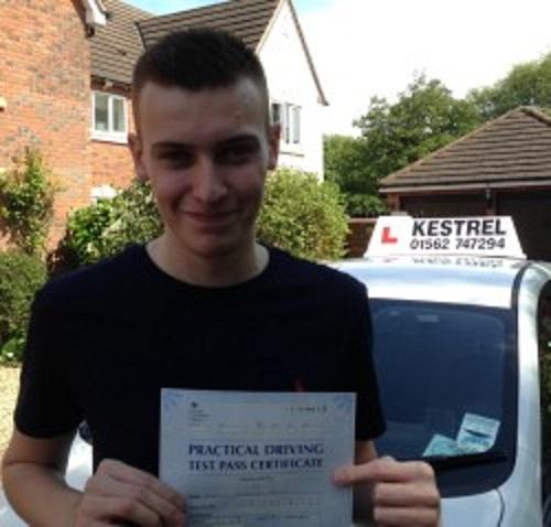 FAULTESS PERFORMANCE: Elliot Dawes is one of only 7.34 per cent of people who have achieved no faults on their driving test.