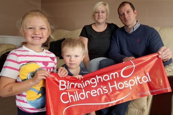 GIVING BACK: The Marshall family of Grace, 6, Charlie, 3, Lisa, 30, and Cliff, 31, will be raising money for Birmingham Children's Hospital after Grace was treated for a life-threatening illness. 351411J