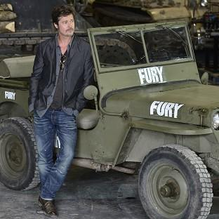 Brad Pitt during a photocall at the Tank Museum in Bovington, Dor