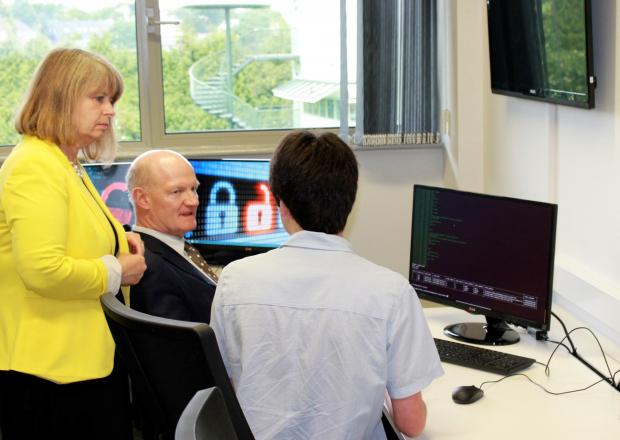 VISIT: MP Harriett Baldwin on Malvern Science park with former science minister David Willets