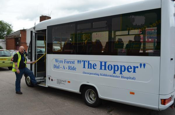 BUS SERVICES SAVED: Driver Mark Ashley setting off on the Hopper bus.
