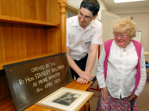 DISCOVERY: Andy Baker, who discovered the missing plaque from Lucy Baldwin Hospital, with Pauline Annis. 341447M