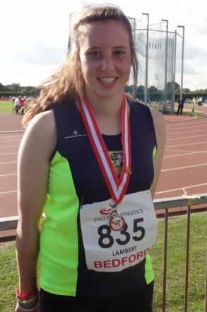 Hammer down: Katie Lambert won gold at the National Athletic Championships in Bedford.