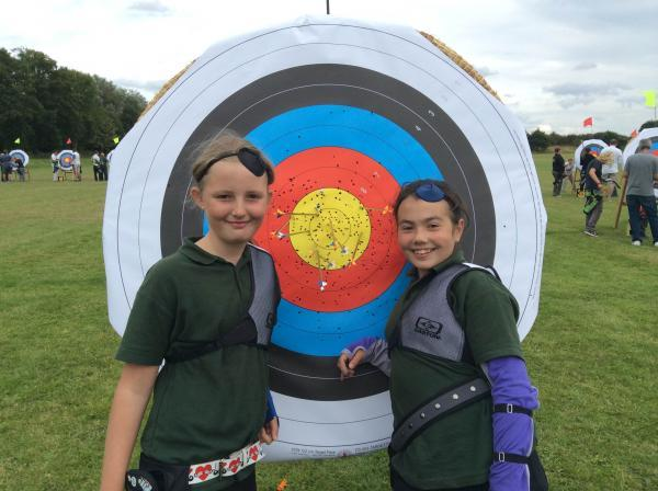 Wyre Forest Company of Archers juniors Freya Palmer (left) and Lauren Turner.