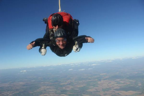 CHARITY SKYDIVE: Director Richard Bridge completing the fundraising challenge.