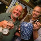 Kidderminster Shuttle: Steve Bubb, left, with his watches and Phil Sims from Sims Vintage with the ginger pot. Buy photo: BMM381407a