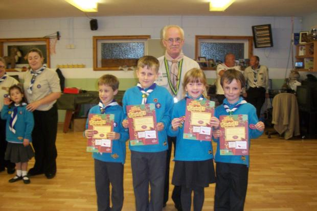 Beaver Scouts being presented with their Awards